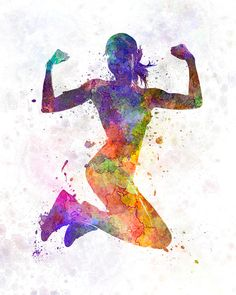 Athleticism Painting - Woman runner jogger jumping powerful by Pablo Romero