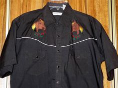 Vintage Men's Western Club Embroidered Western Shirt Size Large Horses