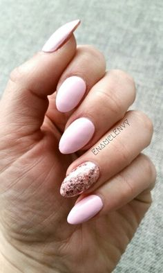 Short almond shaped nails with pink polish and pink glitter accent nail #EnamelEnvy