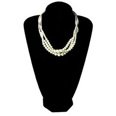 Tagoo CLEARANCE SALE Simple 3-Strands Peal Bead Chunky Necklace Elegant Style ** Click on the image for additional details.