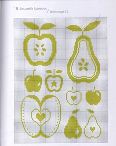 from 'Vert' by Agnes Delage-Calvet Anne Sohier-Fournel /Gallery. Cross Stitch Fruit, Cross Stitch Kitchen, Cross Stitch Flowers, Cross Stitch Beginner, Cross Stitch Charts, Modern Cross Stitch Patterns, Cross Stitch Designs, Cross Stitching, Cross Stitch Embroidery