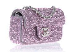 Chanel Limited Edition Swarovski Mini Flap Bag ($6,500.00) #pink #Chanel #bag #Swarovski
