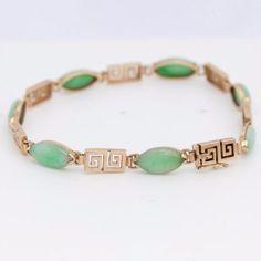 Antique-C-1920-Art-Deco-14k-Gold-Chinese-Carved-Green-Jade-Jadeite-Bracelet