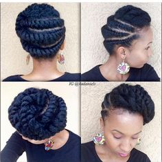 natural hair braided/twisted updo