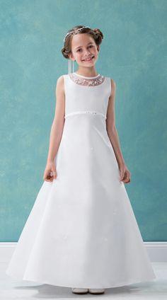 cf3194187 Emmerling Style 70215  Barbara  Illusion Neckline First Communion Dress