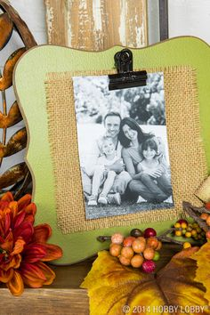 Layer a black and white photo with burlap on these darling colored frames for an easy autumn-inspired piece of mantle decor!