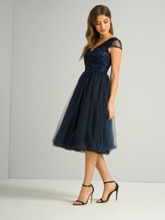 6c90e9a4caa  Chi Chi London Navy Floral Bodice Midi Dress - View All Dresses - Dresses