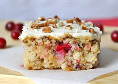 Cranberry Pecan Sheet Cake: One reader created her own healthy- vegan version of this recipe!