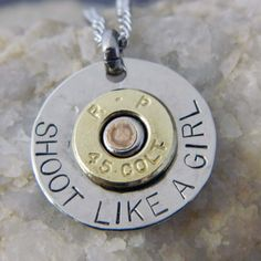 Shoot Like a Girl Necklace w/Colt 45, Wire-N-Whimsy