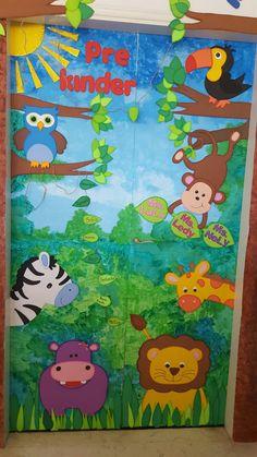 Aloha Hawaiian first birthday theme highchair skirt banner Forest Classroom, Jungle Theme Classroom, Classroom Door, Classroom Themes, Jungle Bulletin Boards, Preschool Door, Preschool Classroom, Preschool Activities, Jungle Decorations