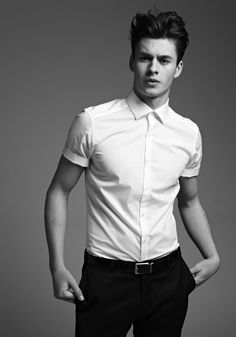 Short sleeve shirt. Possibly a little effeminate here but on this boy it works.