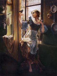 """Cinderella's New Day"" - Cinderella, Cinderella | 6 Gorgeous Disney Ladies As If They Were Oil Portraits"