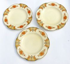 Woods Ivory Ware Plates x 3. Art Deco Salad Plates, Vintage Staffordshire Pottery. Farmhouse Kitchen. Wood & Sons Burslem. 1930s - 1940s