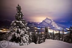 Wintry night on Stoney Squaw, Banff National Park, Alberta, Canada. Banff National Park, National Parks, Canada Mountains, Nature Artwork, Canadian Rockies, Christmas Pictures, Beautiful Images, Winter Wonderland, Around The Worlds