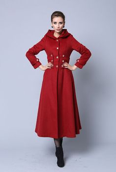 Red wool winter warm long coat by xiaolizi on Etsy