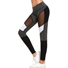 Oksale Womens Fitness Sport Leggings Sexy Mesh Patchwork High Waist Slim Yoga Pants