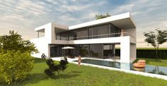 Architektenhaus L Form modern