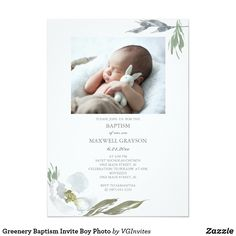 Shop Greenery Baptism Invite Boy Photo created by VGInvites. Personalize it with photos & text or purchase as is! Baby Boy Baptism, Baptism Party, Baby Boys, Baptism Invitation For Boys, Christening Invitations Boy, Communion Invitations, Baptism Announcement, Picture Invitations, Shower Invitations