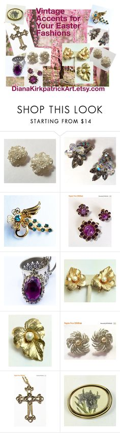 """""""Vintage Accents for Your Easter Fashions"""" by diana-32 on Polyvore featuring Sarah Coventry, Barlow and vintage"""
