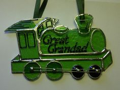Commissioned steam train sun catcher by Diomo Glass.