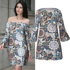 Women Dress Vestidos Free Shipping Designer Elegant Floral Print Work Boho Beach Dresses Long Sleeve Split Neck Sheath