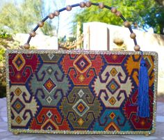 cigar box purse with Southwest Indian Weave Kilim Tapestry cover and tassle