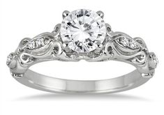 1 Carat Victorian-Style Diamond Engagement Ring in 14K White Gold