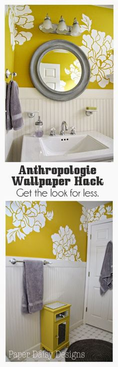 The One Roll Transformation with Anthropologie wallpaper.