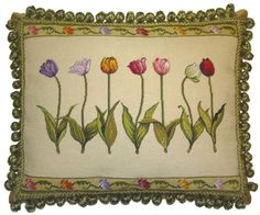 x Handmade Wool Needlepoint Petit Point Calla Pillow with Tassels Needlepoint Pillows, Ribbon Art, Sofa Pillows, Cushions, Pillow Design, Crafts To Make, Embroidery Stitches, Decorative Pillows, Needlework