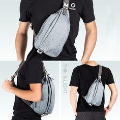 YESO Oxford Outdoor Sling Bag Crossbody Chest Pack - Men Travel Hiking Sport Shoulder Backpack( Grey Blue, L)