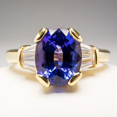 1f8e7f4fa45bd 1 8 Carat Genuine Tanzanite Engagement Ring w Diamond Accents Solid 18K  Gold   eBay Tanzanite