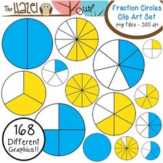 Fraction Circle Clip Art in Blue & Yellow!  168 Graphics!  $
