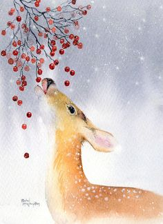 Painting Canvas Deer Christmas Cards Ideas For 2019 Watercolor Christmas Cards, Christmas Drawing, Christmas Paintings, Watercolor Cards, Christmas Art, Watercolor Paintings, Xmas, Watercolor Pictures, Watercolor Landscape