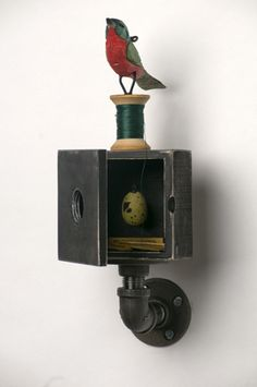 Waiting for Wings Series Beka Brayer Assemblagist Photographed by: Johnny Davis Found Object Art, Found Art, Collages, Box Art, Art Boxes, Collage Art Mixed Media, Assemblage Art, Environmental Art, Recycled Art