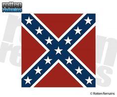 Rebel Confederate Civil War Battle Flag Sticker Decal (Square)