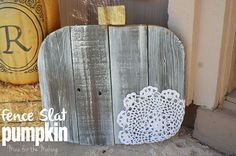 Make a Fence Slat Pumpkin in just a few easy steps! Find the tutorial at Mine for the Making.
