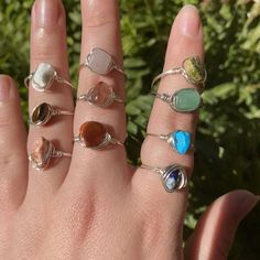 Wire Jewelry Rings, Wire Jewelry Designs, Handmade Wire Jewelry, Handmade Rings, Cute Jewelry, Crystal Jewelry, Jewelery, Diy Crystal Rings, Ring Designs