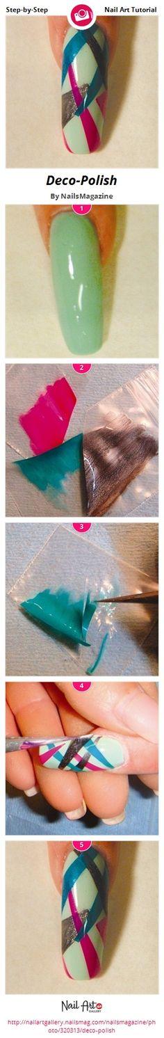 Deco-Polish by NailsMagazine - Nail Art Gallery Step-by-Step Tutorials http://www.nailsmag.com/demoarticle/92508/nail-arts-and-crafts #nailart