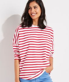 Shop Striped Deluxe Tee at vineyard vines Breton Stripe Shirt, Striped Tee, Polo T Shirts, Oversized Shirt, T Shirts For Women, Clothes For Women, Trendy Outfits, Trendy Clothing, Women's Clothing
