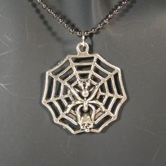 Spider on a Web w/Skull Pendant w/Gunmetal Ball Chain #Unbranded #Pendant