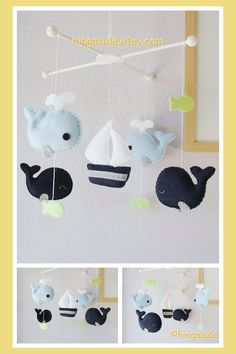Baby Mobile  Whale Mobile  Whales and Sailboat Mobile by hingmade, $82.00