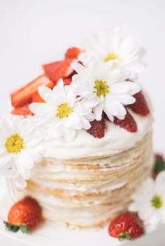Strawberry Chamomile Crepe Cake recipe   #strawberry #crepecake #crepe #strawberrycake Cake Recipes, Dessert Recipes, Desserts, My Favorite Food, Favorite Recipes, Crepe Cake, Thing 1, Half Baked Harvest, Buttercream Cake