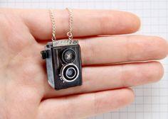 Vintage Camera Wooden Necklace