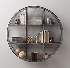 Circle metal industrial style shelf | Restoration Hardware