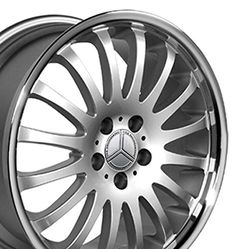 Car Products 18-inch-Fits-Mercedes-Benz-Car-162-Aftermarket-Wheel-Silver-Machined-Lip-18x8-0