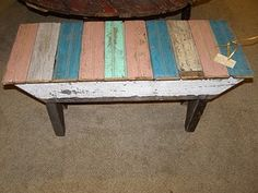 little benches made from reclaimed beadboard
