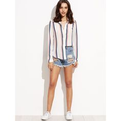942c8a178029b2 SheIn(sheinside) Vertical Striped Hidden Button Shirt ( 18) ❤ liked on  Polyvore