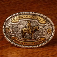National Cowboy Museum Wrangler Belt Buckle- Sterling Silver with Gold Inlay