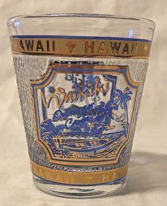 323213240f4f Hawaii Waikiki Outrigger Canoe Single Shot Glass Libbey Blue Gold Textured