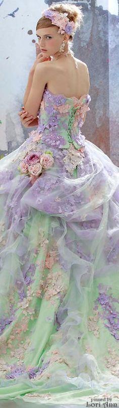 Stella de Liber Colorful Wedding dress, Brides, bridal, bride, exotic wedding, romantic bride, off white wedding gown, renaissance bride, wedding reception dress, rehearsal dinner dress